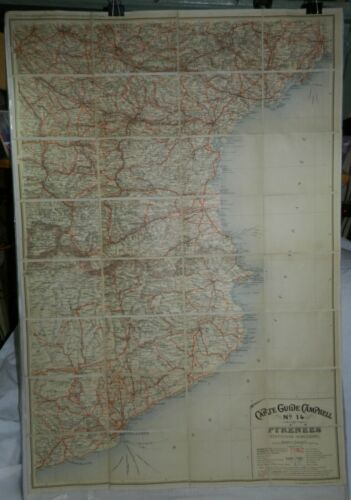 Vintage Linen Backed French Map, Carte Guide Campbell No. 14, Pyrenees, France +