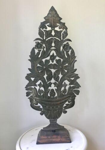 "Pair Handmade Mexican Tin Folk Art Tree Altar Stands - Floral Cutouts. 32"" Tall"