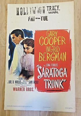 1946 Gary Cooper Ingrid Bergman Saratoga Trunk Cardboard Litho Movie Poster
