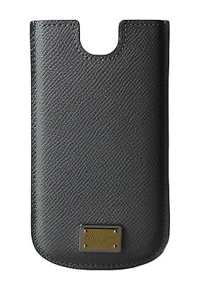 NEW $150 DOLCE & GABBANA Phone Case Cover Gray Leather Gold Logo 13x7,5 cm