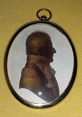 Silhouette Portrait Miniature of an Officer with a high collar in a brass frame