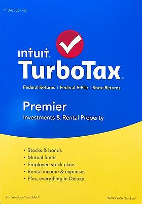 2015 Intuit TurboTax Premier + E-File BRAND NEW FACTORY SEALED!!!