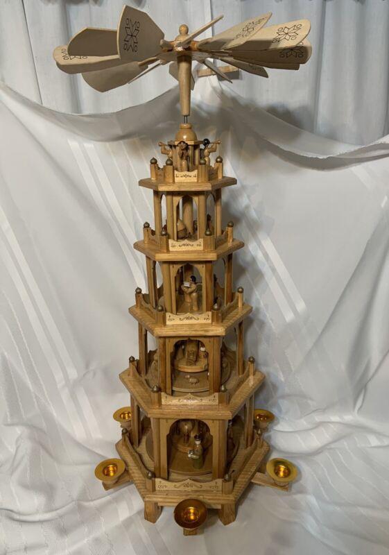 "BRUBAKER Christmas Pyramid 26"" Wood Nativity 5 Tier Carousel German folk art"