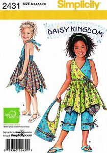 Daisy Kingdom Girls Dress, Top, Capri, Bag Sewing Pattern sz 3-8 Simplicity 2431