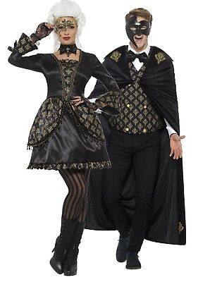 Couples Ladies and Mens Deluxe Masquerade Halloween Fancy Dress Costumes Outfits