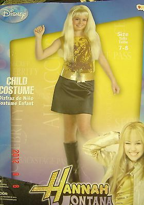 Halloween HANNAH MONTANA Costume SZ  4 - 6X CHILD New Girl Gold Dress Blonde WIG