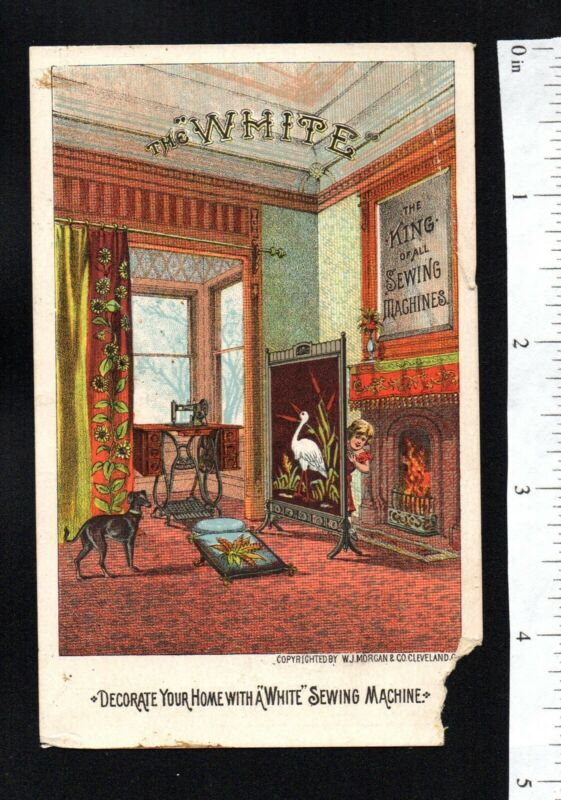 DOG DECORATE HOME WHITE SEWING MACHINE 1880