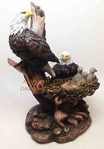 ICARUS AMERICAN BALD EAGLE IN NEST FAMILY SCULPTURE STATUE FIGURINE