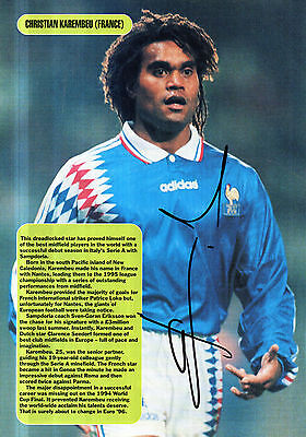 CHRISTIAN KAREMBEU IN FRANCE KIT HAND SIGNED 12 x 8 COLOUR MAGAZINE PICTURE