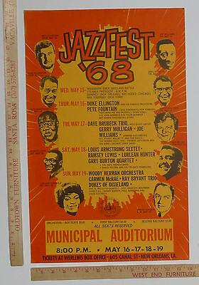 Louis Armstrong Duke Ellington New Orleans 1968 Jazz Festival Concert Poster
