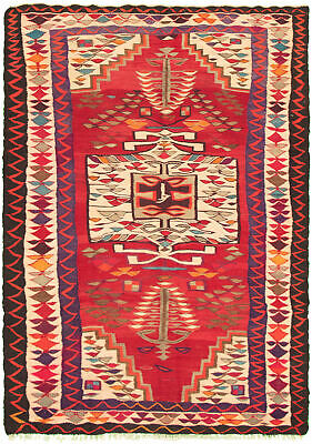 "Hand woven Carpet 5'10"" x 9'0"" Traditional Vintage Wool Kilim...DISCOUNTED!"