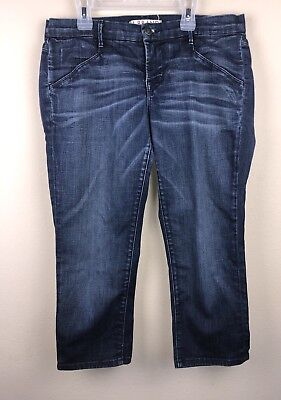 J Brand Women's GREASER Blue Cropped Distressed Washed Jeans sz 29 (33in)