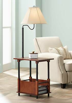 Mission Floor Lamp End Table Swing Arm Bronze Wood Empire Shade For Living -