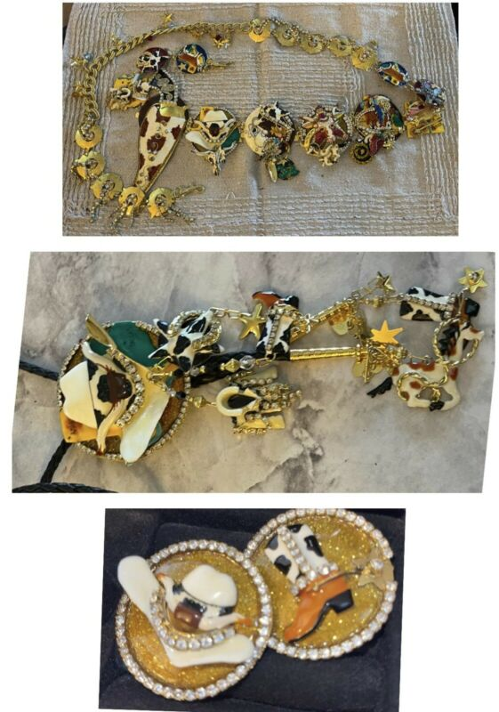 LUNCH AT THE RITZ 3 Piece Belt, Earrings, Bolo-Rare Vintage Rhinestone Rodeo Set