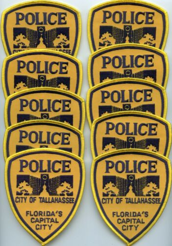 old TALLAHASSEE FLORIDA Patch Lot Trade Stock 10 Police Patches POLICE PATCH