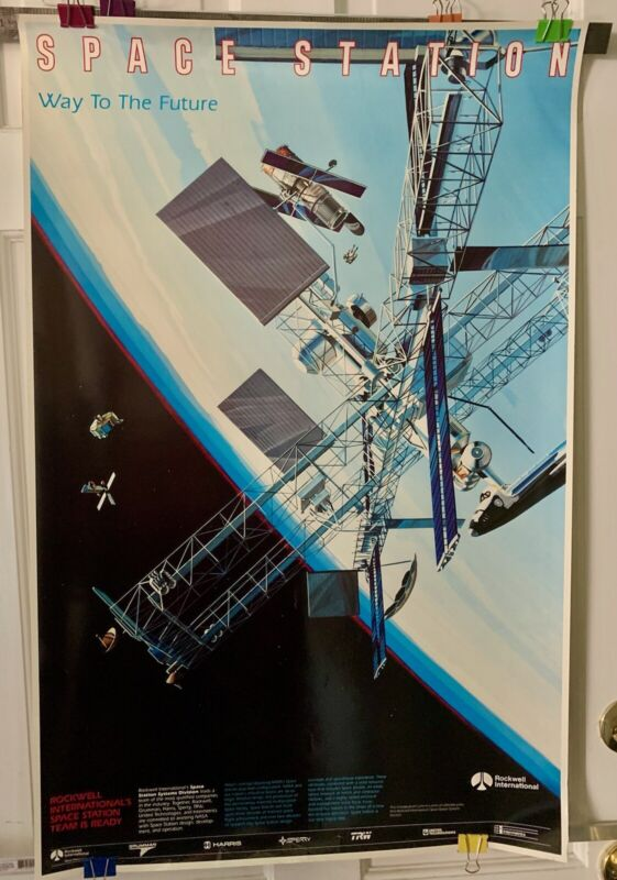 """Vintage NASA """"Space Station Way to the Future"""" Poster"""