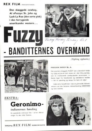 The Fighting Vigilantes +  Geronimo Lash La Rue 1947 Danish Movie Press Release