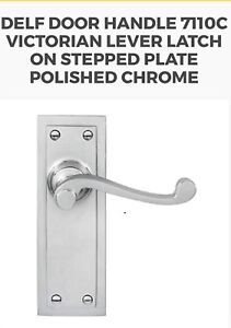 Delf Door Handle 7110C Victorian Lever Latch On Stepped Plate Polished Chrome