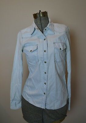 Lucky Brand Women's Sz XS Light Blue Denim Colored Pearl Snap Western Shirt MINT