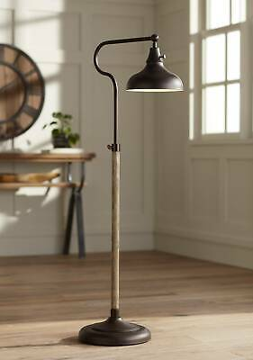Rustic Farmhouse Pharmacy Floor Lamp Downbridge Bronze Faux Wood for Living -
