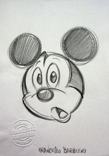 """MICKEY MOUSE Signed FRANCESCO BARBIERI Hand Drawn Character Art Sketch 8.5"""" x 6"""""""