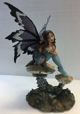 Blue Nice Pondering Forest Faery Fairy Statue Figurine Amy Brown Art - Forest Fairy
