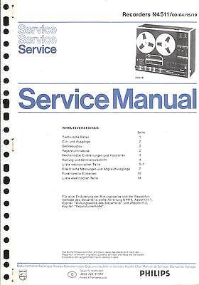 Philips Service Manual für Tonband N 4511