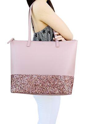 Kate Spade Greta Court Penny Glitter Large Top Zip Tote Pink Glitter