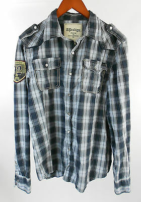 A. Prodigee Dark Blue Plaid Pearl Snap Classic Fit Western Shirt size M Medium