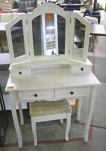 New White French Provincial Diamond Dressing Table Mirror Stool