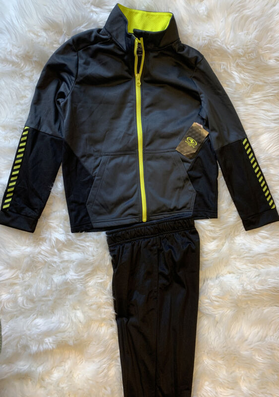 Athletic Works Boys Full Zip Jacket And Joggers 2 Piece Track Suit Black Size 8