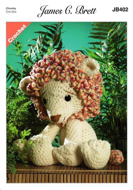 James C Brett JB402 Crochet Pattern Rory The Lion Toy in Flutterby Chunky