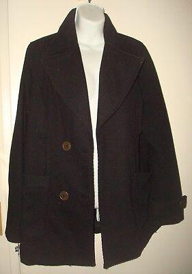 Women's Hurley Peacoat DOUBLE BREASTED Black Long Oversize Coat / Jacket Sz M Black Double-breasted Peacoat