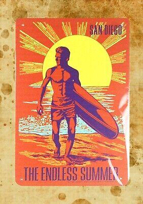 - US Seller- San Diego beach surfing Endless Summer tin metal sign art and decor