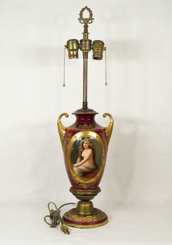 Antique Royal Vienna Style Hand-painted Porcelain Lamp Signed Wagner 1900