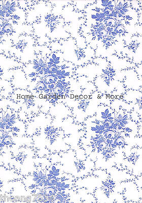 Blue & White Rose Floral Toile Vinyl Contact Paper Wallpaper Liner Peel Stick (Blue And White Contact Paper)
