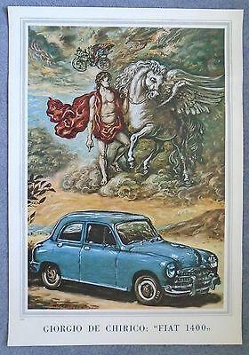 Fiat 1400 1950 Poster Manifesto Giorgio de Chirico Drawing Excellent Condition