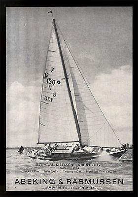 Grosse Werbung 1965 8,75 m Kielyacht STRUNTJE IV Werft  Abeking & Rasmussen