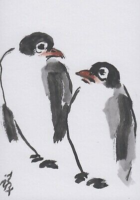 LinLi888 Art ACEO Original Chinese Brush Painting 2 Penguins 20041805