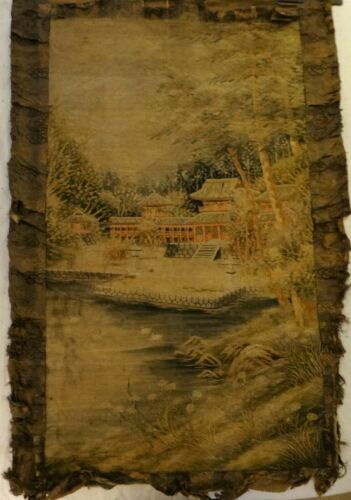 """Large Antique Japanese Silk Embroidery, Meiji (1868-1912). Approx. 60"""" x 41"""""""