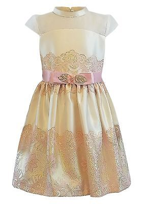 Bonnie Jean Big Girl's 7-16 Cap Sleeve Illusion Metallic Jacquard Party Dress ](Party Dresses Girls 7 16)