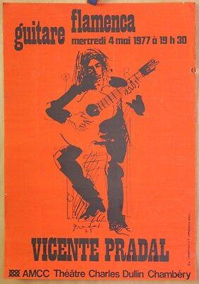 Affiche Originale 1977 ✤ VICENTE PRADAL / Guitare FLAMENCA ✤ Chambéry