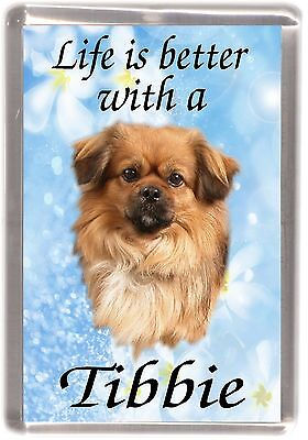 "Tibetan Spaniel Dog No. 2. Fridge Magnet ""Life is better with ..."" by Starprint"