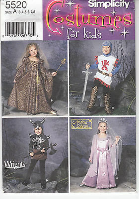 Kids Renaissance Costumes Knight Princess Simplicity Sewing Pattern 5520 Sz 3-8
