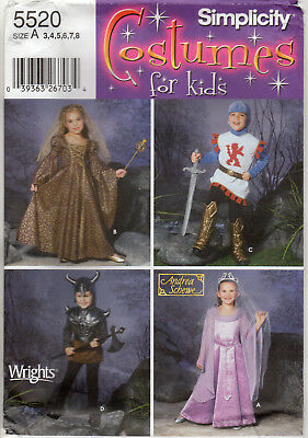 NEW ©2003 Simplicity Costumes for Kids Pattern # 5520 Medieval Renaissance 3-8 - Medieval Dresses For Kids