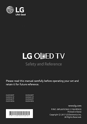 Sony LG OLED55B7A LED TV Owners Manual