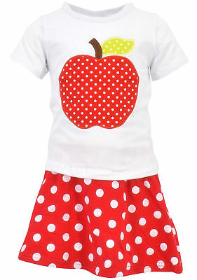 Fashion Girls Back to School Apple Skirt Boutique Outfit Toddler Kid 2pc Top