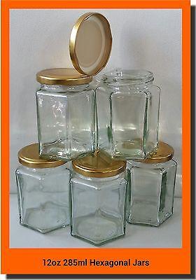 24 X 280ml 12oz HEX PRESERVE HEXAGONAL GLASS JAR JAM HONEY CHUTNEY GOLD LIDS