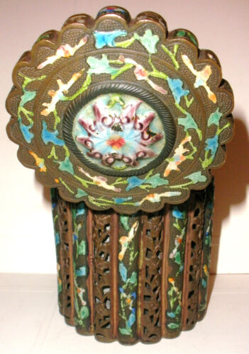 ANTIQUE 19THC 1800`S CHINESE ENAMELED ENAMEL TEA CADDY BOX BRONZE OR BRASS