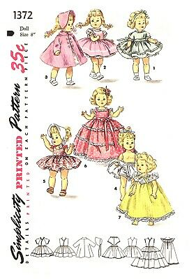 Vintage Doll Clothes For Alexander -Kins Ginny Muffie Dolls Sewing Pattern #1372